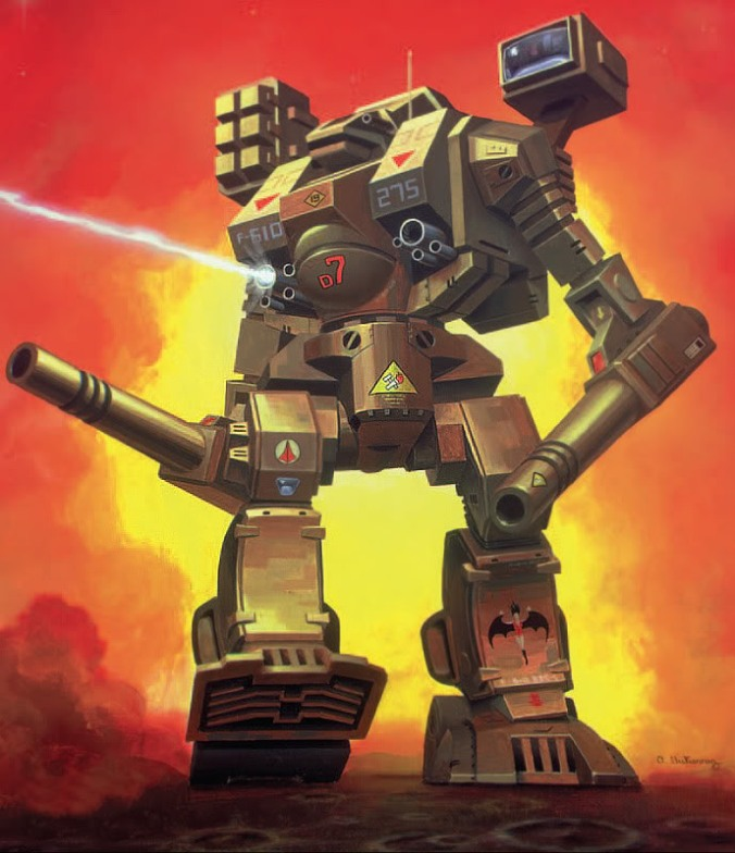 A drawing of a Warhammer, an even more intimidating Battlemech